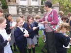 the choir were given forget-me-not badges